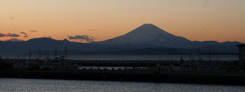 View of Mount Fuji from the port of Enoshima, Japan