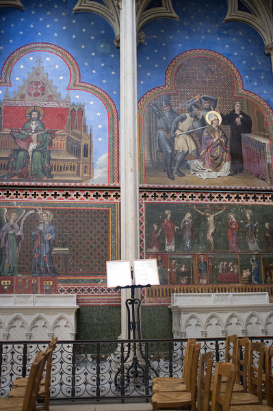 Religious paintings inside the Bayeux Cathedral.