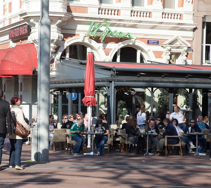 Outdoor cafe in Amsterdam.