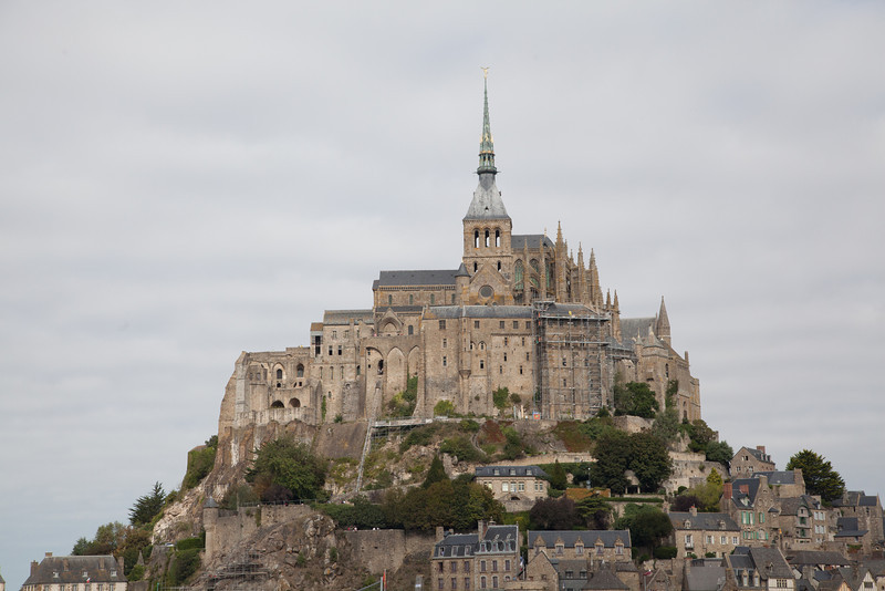 We next took a 160 mile round trip to Mont Ste. Michel. The Mont is off the eastern coast of Brittany. At high tides, the road to the Mont is below water, so you better check the tides tables!