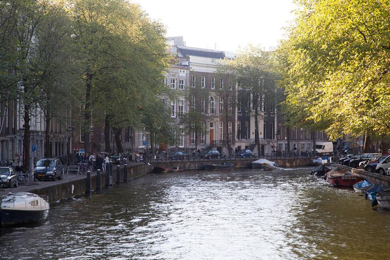 Homes hug the canal.