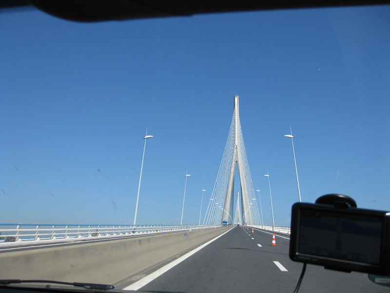 Having left Bayeux for a long 306 mile drive to Ghent, Belgium, we drove over the famous Pont du Normandie. The bridge is 7,032 feet in length and is a cable stayed bridge. It took seven years to build and was completed in 1995. At the time, it was the longest cable stayed bridge in the world.