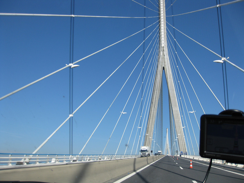 A magnificent bridge to cross. Picture taken from within the car. Notice the poorly functioning GPS on the right!