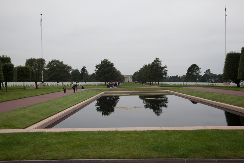 The reflecting pool and memorial in the distance.