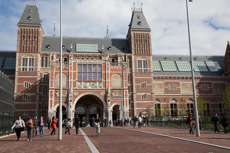The famous Rijksmuseum, one of three major art museums in Amsterdam.