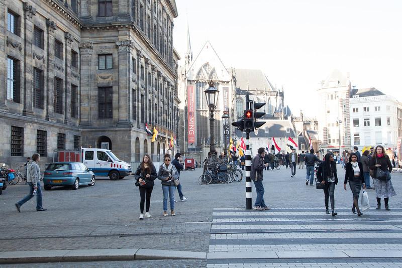 Famous Dam Square in Amsterdam.
