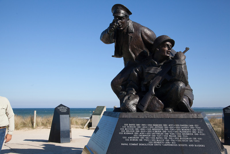 Memorial to the battleships that attached Utah Beach on D-Day.