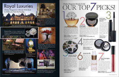 "Product photo of crystal shoes in Gladys Magazine's ""Royal Luxuries"" segment.  (White box around photo and caption)."