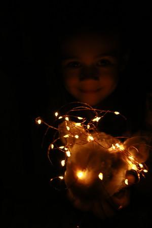 Fairy light on a Bunny with little girl