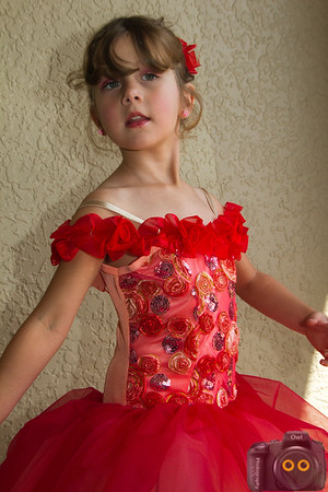 Portrait of the Little Girl in her Ballet Outfit.