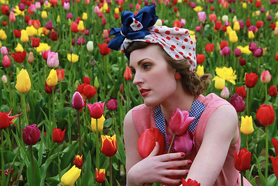 Cassandra in a Tulip Field - Photo by Rick Dodele