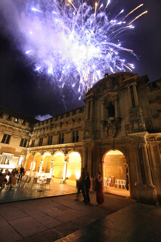 fireworks in canterbury quad, st john's college, oxford university