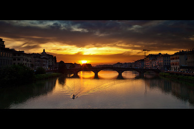 Evening paddle on the Arno River, Florence