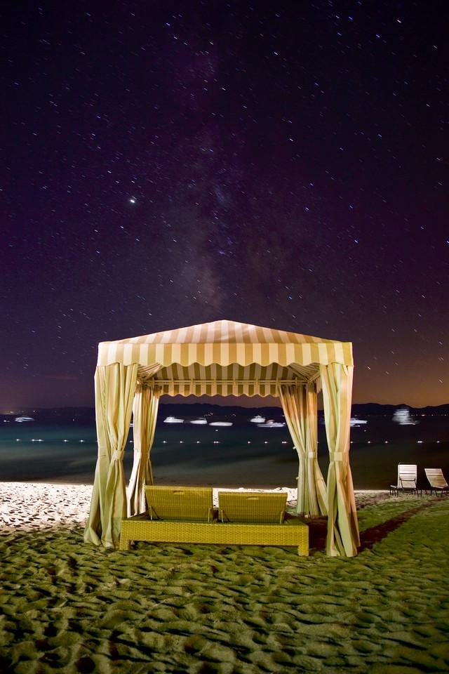 Under the Milky Way. Incline Beach hut, Lake Tahoe, Nevada.
