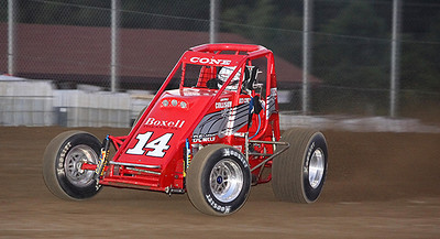 Hud Cone (14) on the back stretch at Vermilion County Speedway during qualifying for the evenings main event. Photo by Eric Thieszen.