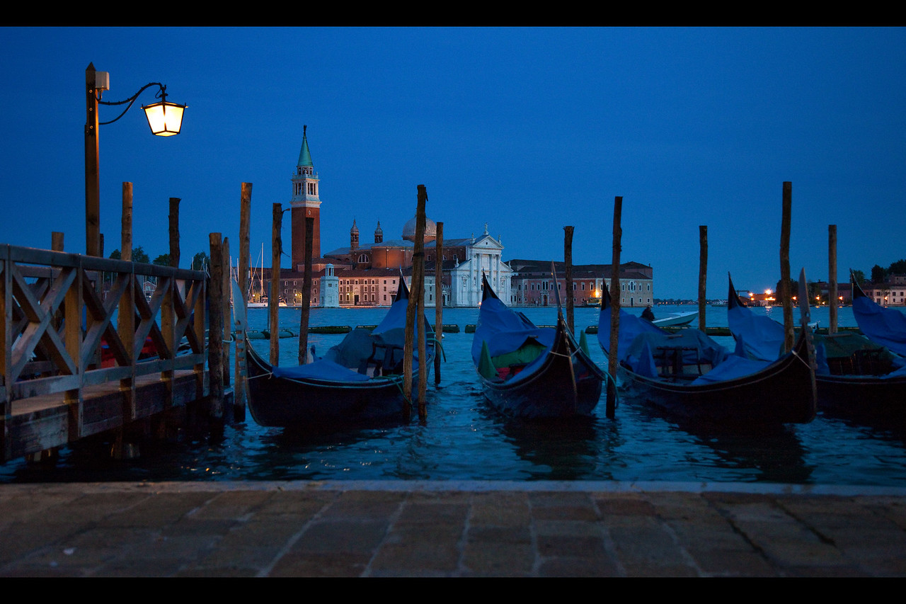 venice gondolas at dusk