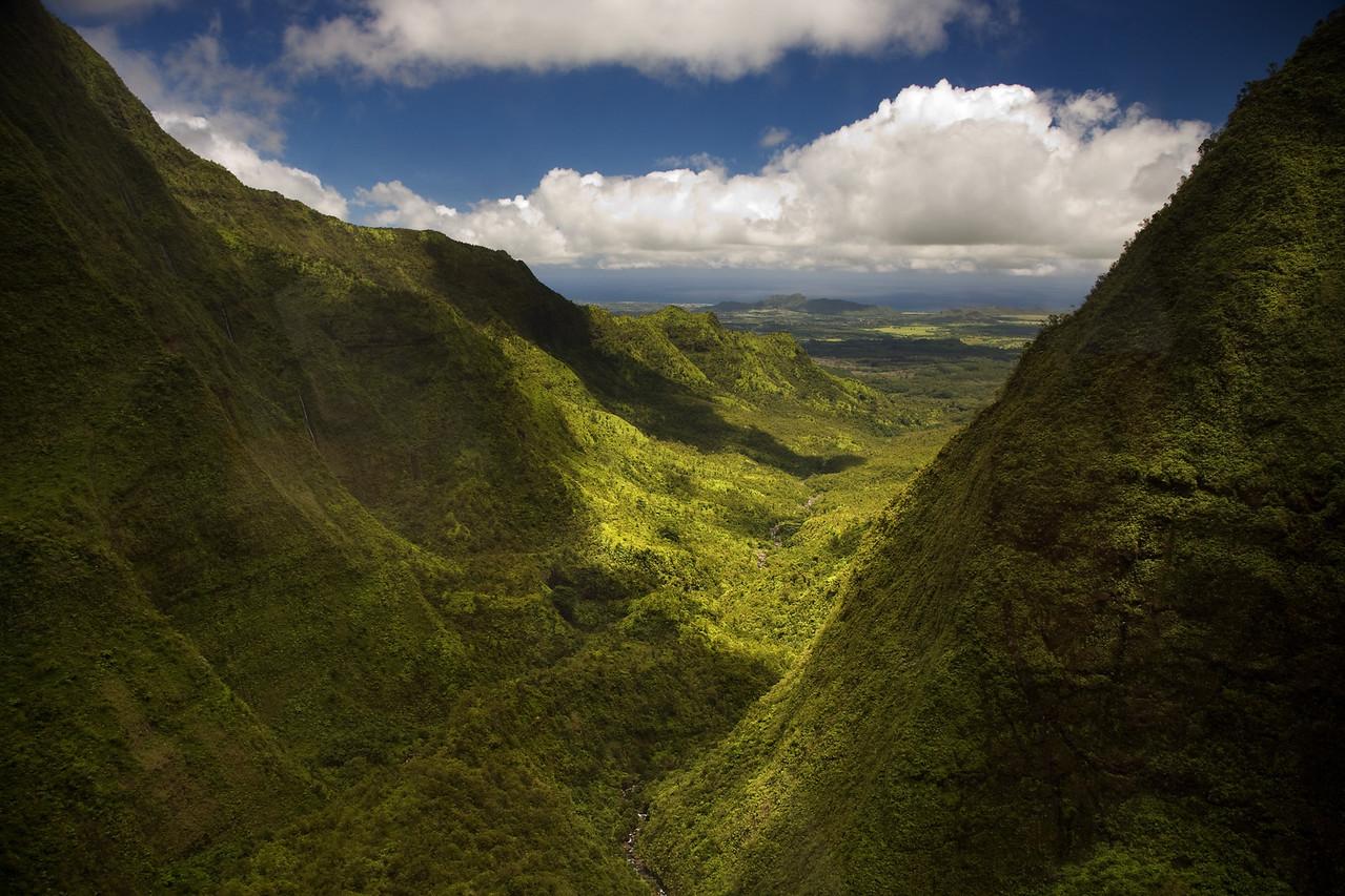 valley near mt kawaikini kauai hawaii
