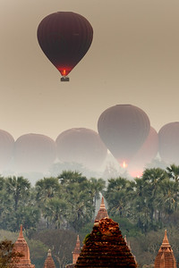 Sunrise hot air balloon launch over Bagan, Myanmar