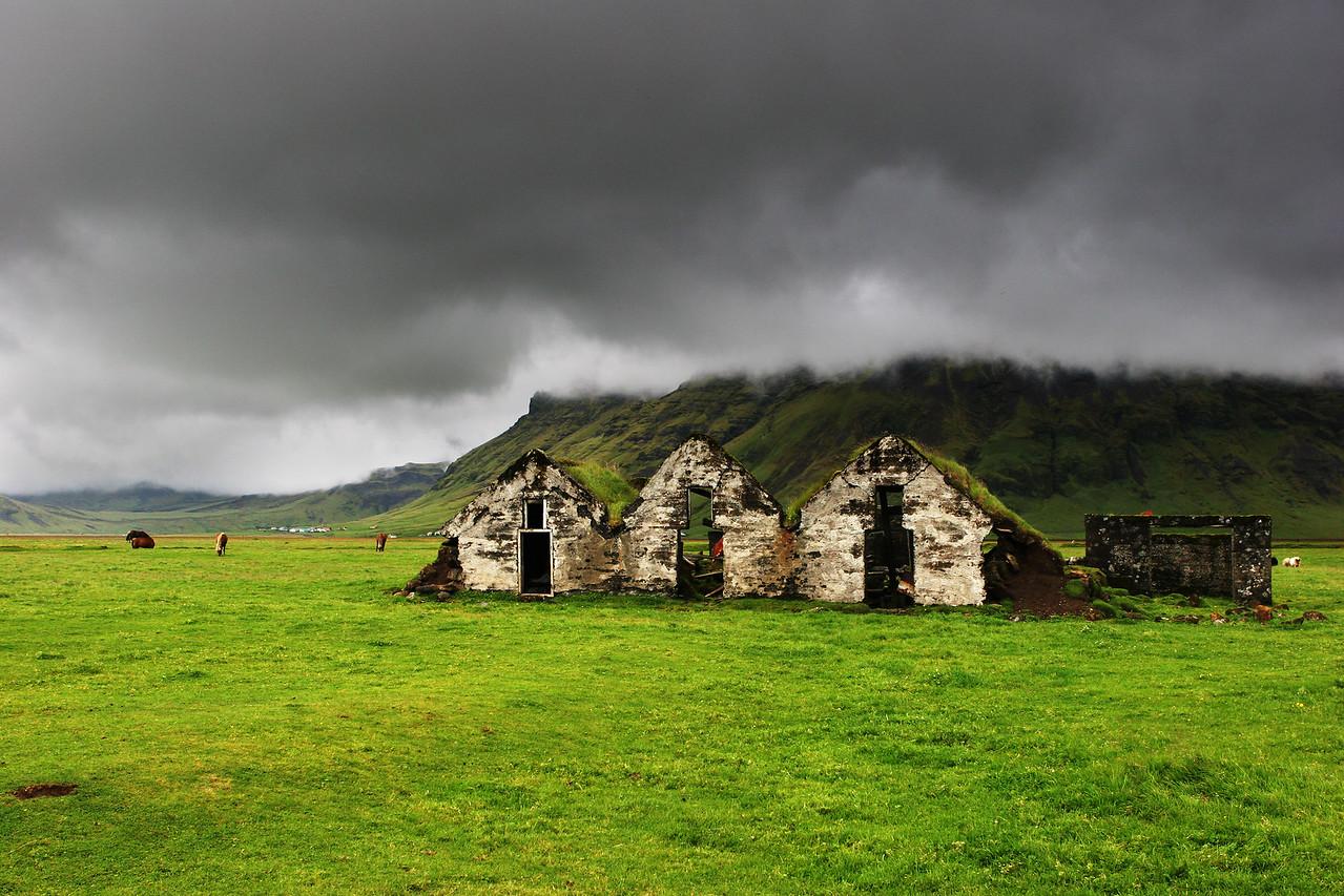 huts near skogar iceland