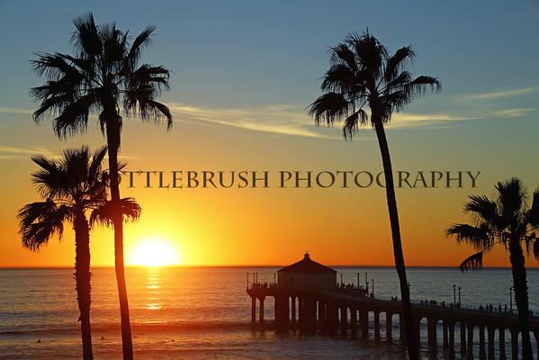 Sunset in Manhattan Beach, California.