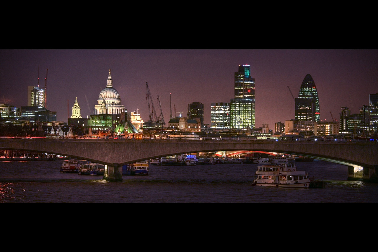 st paul's cathedral london skyline night