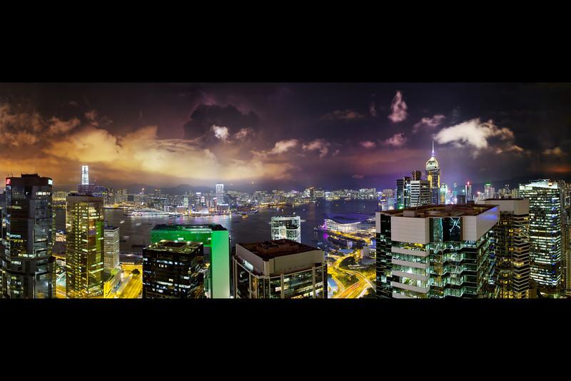 hong kong victoria harbour lightning storm panorama c