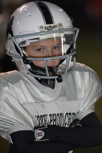 Kole Idele shows his game face before taking the field for the championship game of the Franklin Township Football League. Photo by Eric Thieszen.