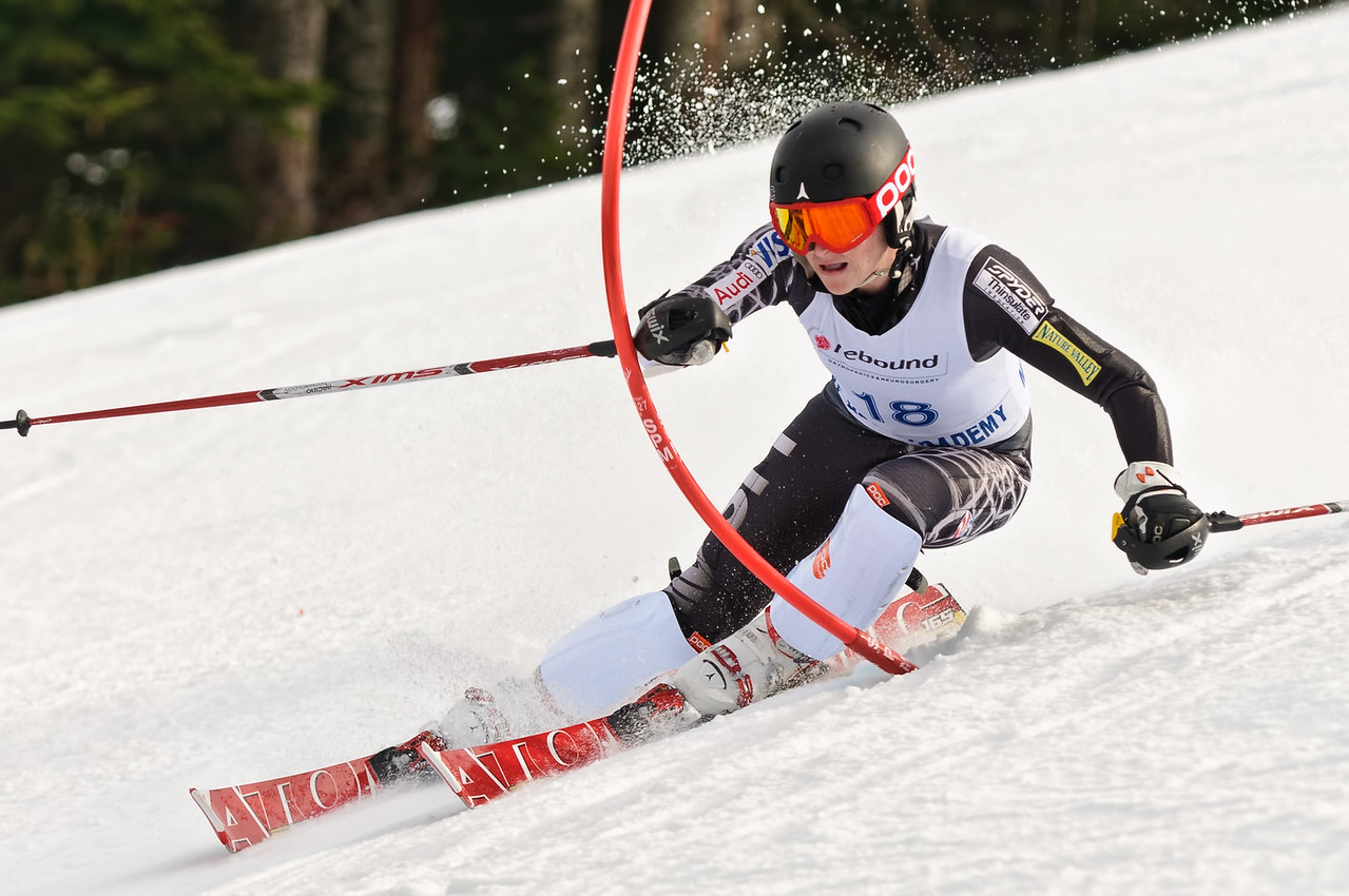 PNSA Ski Racers compete at the Superbowl SL race held on Challenger at Skibowl on Mt Hood.