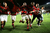 Members of Flamengo celebrate their victory over Vasco da Gama in the Maracana stadium in Rio de Janeiro, Brazil, Sunday, April 18, 1999. Flamengo defeated Vasco 2-1 to win the Guanabara cup, which goes to the champion of the first half of the Carioca league season. (AP Photo/Douglas Engle)