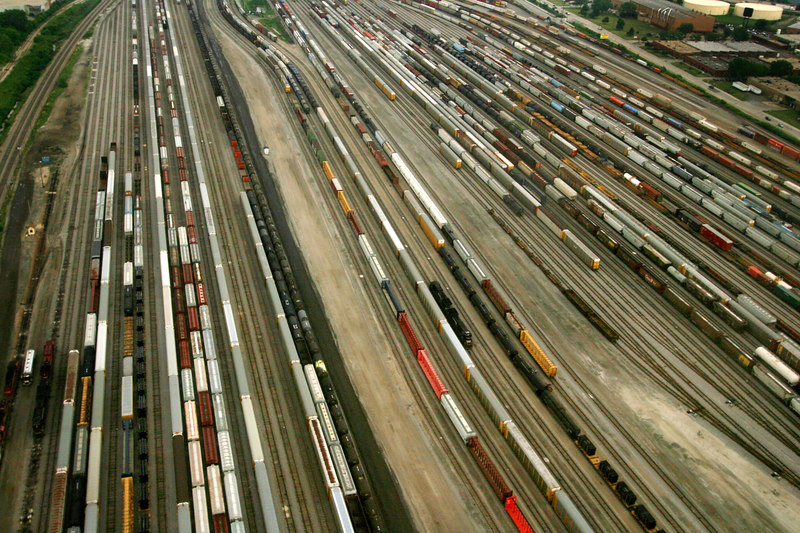 An aerial view of a railroad yard near Chicago, Illinois, June 13, 2005. Rail transport is one of the most energy efficient means of mechanised land transport. In all, under the right circumstances, a train needs 50-70% less energy to transport a given tonnage of freight (or given number of passengers), than does road transport. While passenger service in the US is viewed as inefficient, freight railways have consolidated and become more efficient in their progress toward profitability.