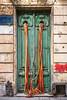 A decorative door in Montevideo, Uruguay, South America.