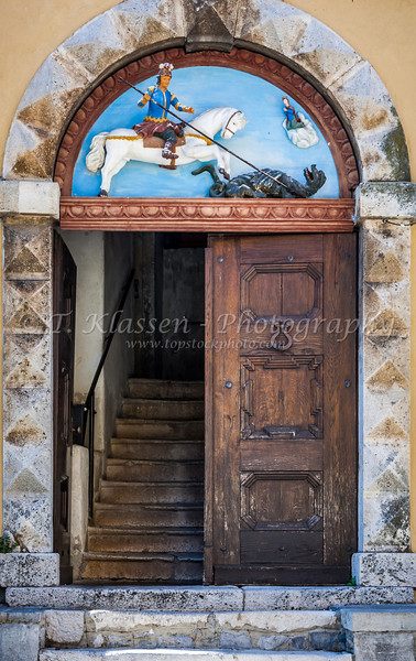 Colonial architecture and a door in Lovran, Croatia.