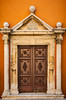 An entrance door to St. Simeon's Church in Zadar, Croatia.