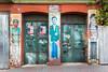 Rustic doors with graffiti  in Istanbul, Turkey, Eurasia.