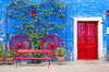 Colorful windows and doorways featuring the architecture of Arequipa, Peru, South America.