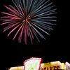 Fireworks explode at the Gibson County Fairgrounds.