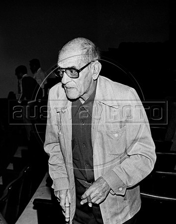 """Spanish filmmaker Luis Bunuel (1900-1983), assists the essay of the theatre piece """"Moctezuma"""", Mexico DF, Mexico, april 1982. Luis Bunuel, considered one of the most influential directors in the history of cinema, made, between others, the films """"Un Chien andalou"""", 1929, """"Los olvidados"""", 1950, """"The Exterminating Angel"""", 1962, """"Viridiana"""", """"Belle de Jour"""", 1967, """"Cet obscur objet du désir"""", 1977. (Austral Foto/Renzo Gostoli)"""