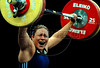 El Salvador's Eva Dimas competes in the Women's 75 Kg weightlifting competition at the Pan American Games, Rio de Janeiro, Brazil, July 17, 2007. (Australfoto/Renzo Gostoli)