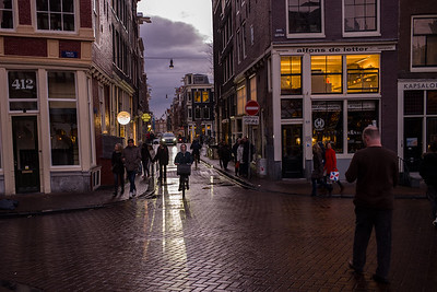 Sunset in Amsterdam street