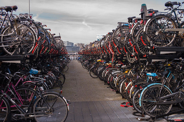 Bicycle parking near Amsterdam North Ferry Station