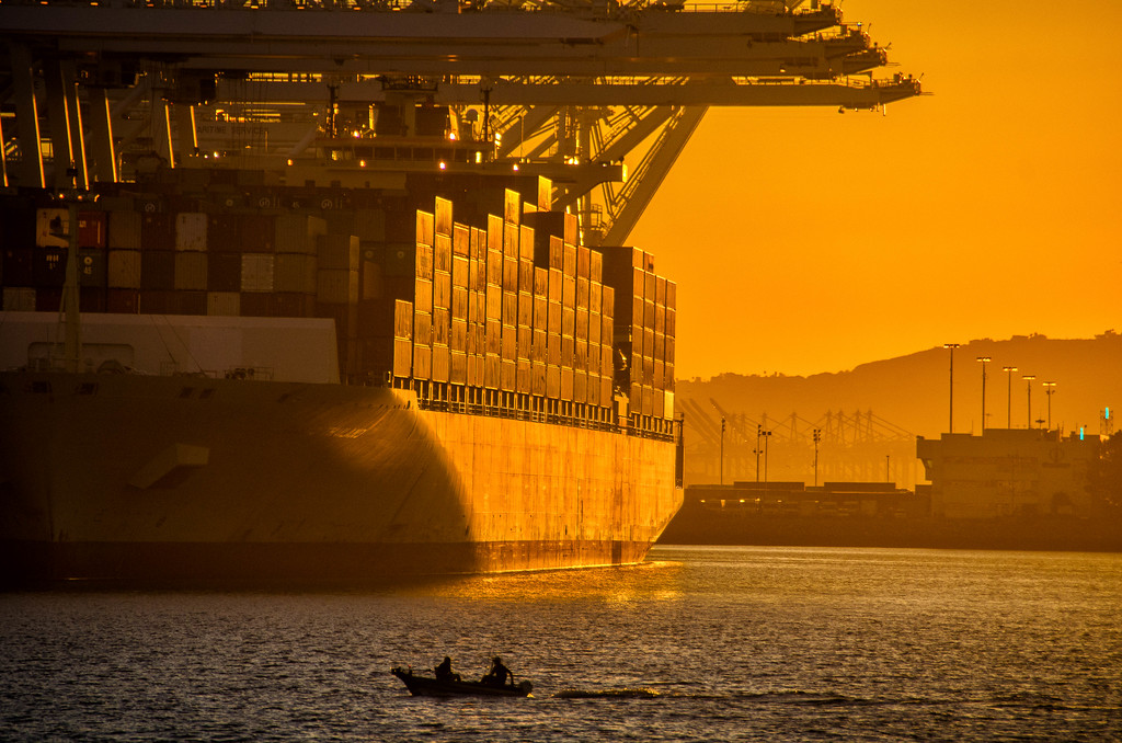 Sunset on Container Ship