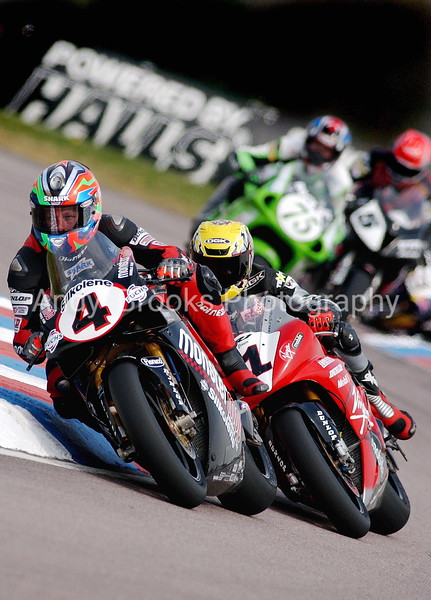 Shane Byrne (4) and Steve Hislop (1) do battle in the British Superbike Champioship at Thruxton Circuit.<br /> <br /> Pictured Andy Brooks