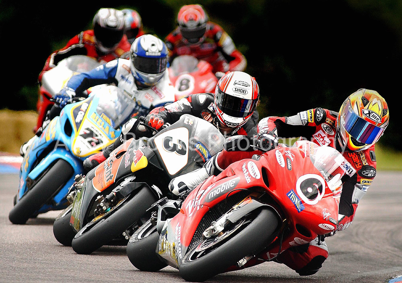 Gary Mason leads the British Superbikes through the Thruxton Chicane after the restart of the first heat.<br /> <br /> <br /> <br /> Pic Andy Brooks