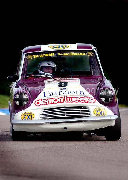 Harry Potter Power - Gordon Streeter powers his Ford Anglia around the Thruxton Circut in the Classic Thunder Championship Race.<br /> <br /> <br /> <br /> Picture Andy Brooks