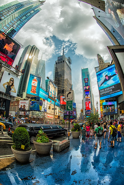 Timesquare after a Drop of Rain