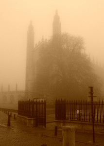 King's College Chapel, Cambridge on a foggy day in 2008  [taken in sepia mode on my cute little Sony Ericsson T650i cell phone]