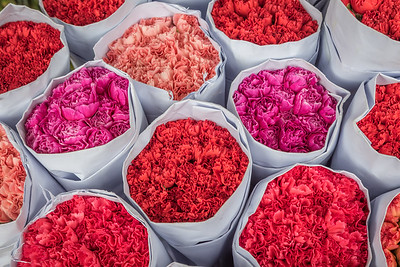 Bunches of Flowers in a Hong Kong Market
