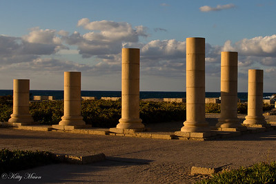 Column left from Herod's Palace at Caesarea Maritima.