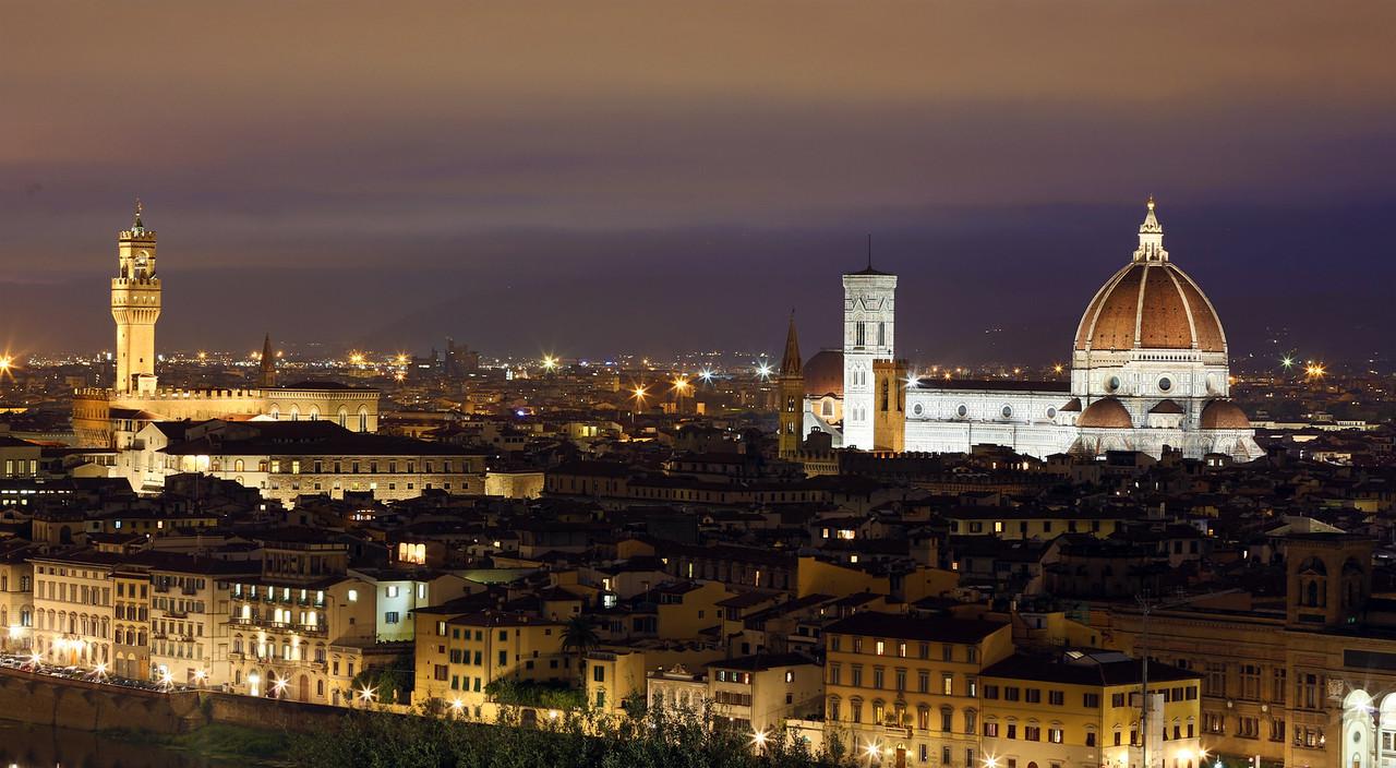View of The Basilica di Santa Maria del Fiore, Giotto's Campanile &  Palazzo Vecchio from Michelangelo Square.