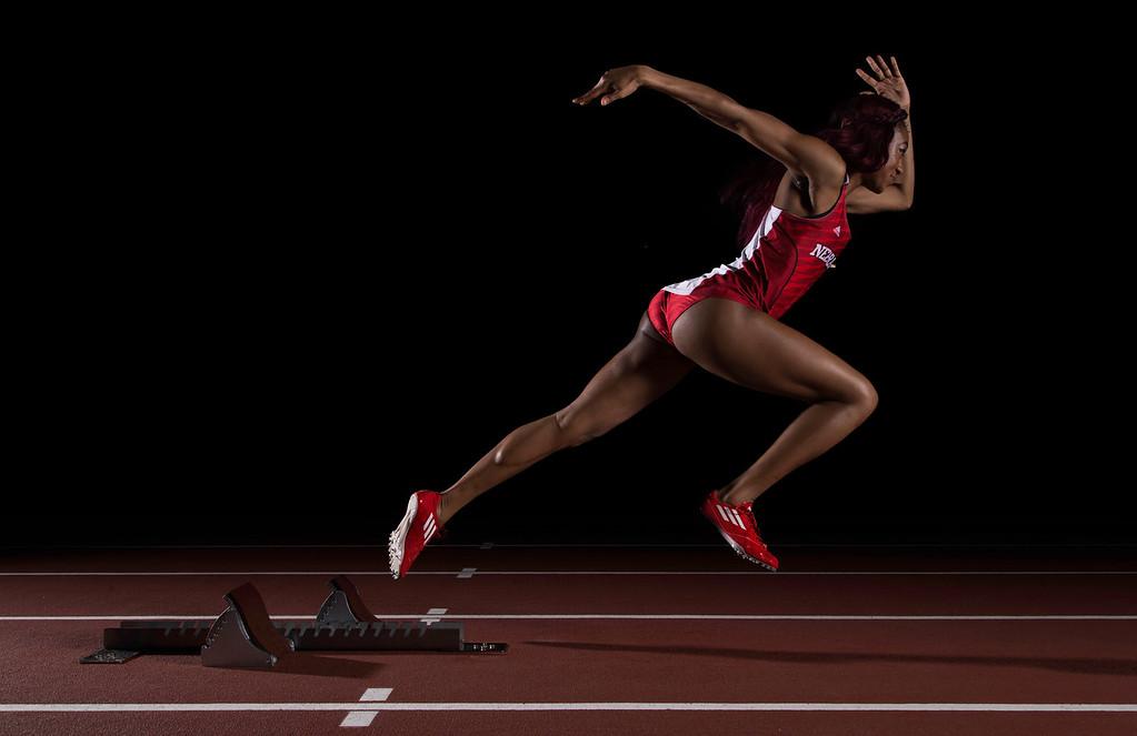 Nebraska sprinter Lakayla Harris poses for a portrait on February 21, 2016 in Lincoln, Nebraska.